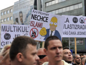 A photo from the 'anti-Islamisation' protest (Credit: Jan Koller/ČTK).