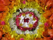 A typical flower arrangment (or pookalam). Credit: Madhutvin/Wikipedia.