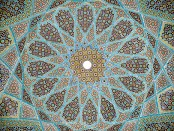 The ceiling of the Tomb of Sufi poet Hafez in Shiraz, Iran. Credit: Pentocelo/Wikipedia.