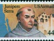 A commemorative stamp of Junípero Serra. Credit: US Embassy Madrid