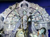 A depection of the Goddess Durga - worshipped during Navratri.