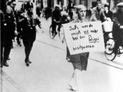 "Dr Siegel forced to walk the streets of Munich with a sign that reads: ""I will never again complain to the police."""