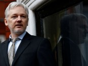 FILE PHOTO: WikiLeaks founder Julian Assange makes a speech from the balcony of the Ecuadorian Embassy, in central London