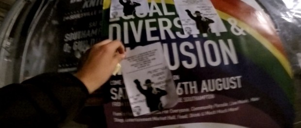 A photograph alledging members of the neo-Nazi group System Resistance Network distributing homophobic flyers in Southampton. Credit: Twitter.